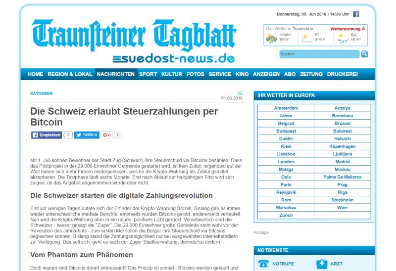 Vizionary, Schweiz erlaubt Bitcoin