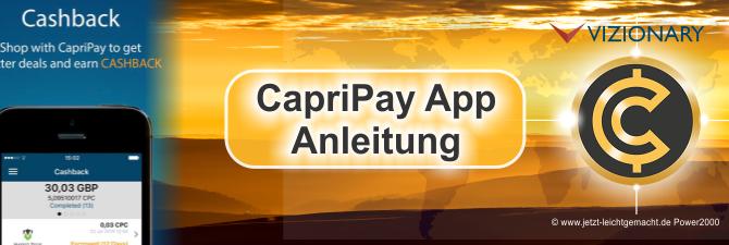 CapriPay App Zahlung, schnell, sicher, gebührenfrei mit Cashback! Anleitung.