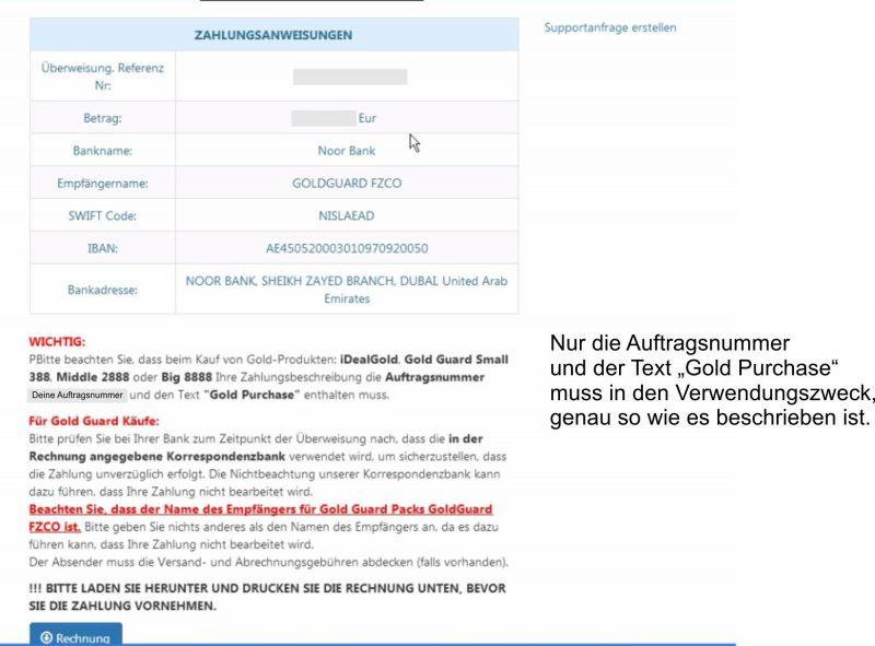 Zahlungsangaben für OneGram Pakete