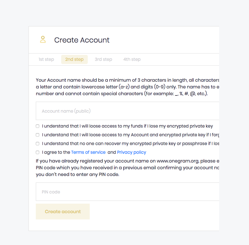 OneGram Wallet Create Account