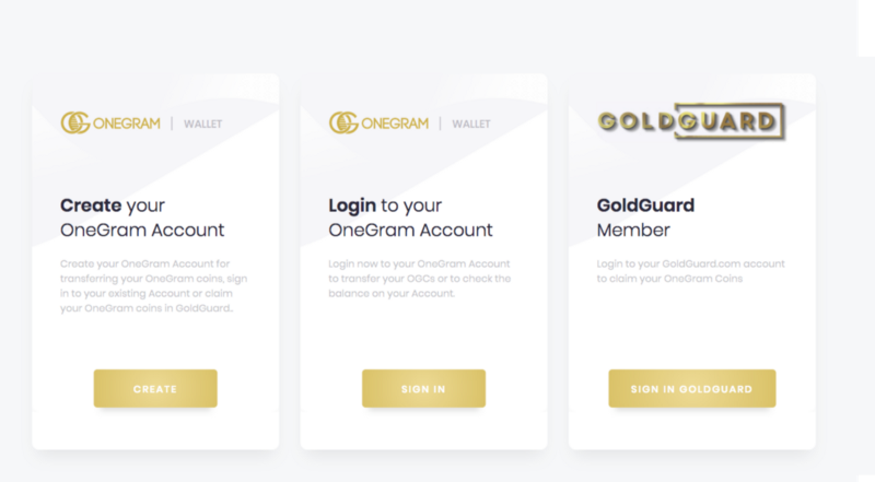 OneGram Wallet Sign in