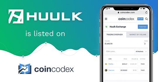 Huulk ist bei CoinCodex gelistet
