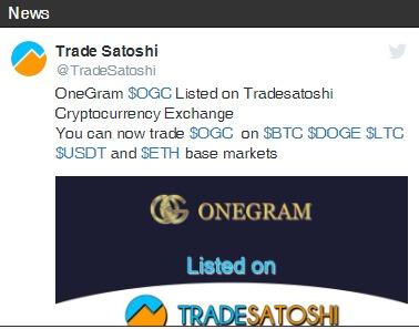 OneGram auf TradeSatoshi